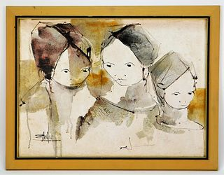 Modern Abstract Three Girls Portrait Painting