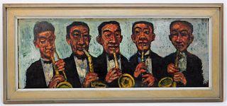 Gordon Steele Modernist Sax Quintet Painting