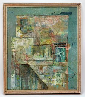 Gordon Steele Semi Abstract Building Painting