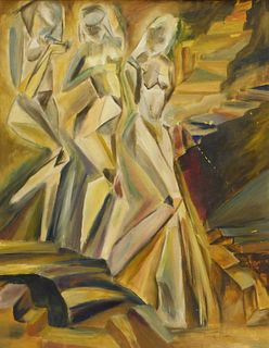 Peggy Page Nude Descending Staircase Painting