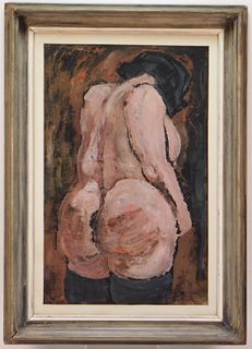 Joseph Gualtieri Nude Figure Oil on Paper Painting