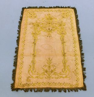 17C. European Gold Thread Embroidered Tapestry