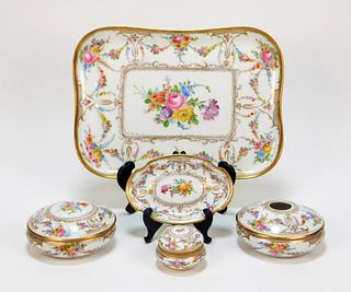 5PC Dresden German Porcelain Vanity Set