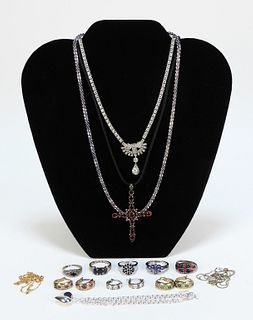 13PC Estate Sterling Silver & 14KT Gold Jewelry