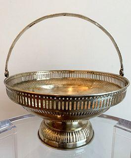 Antique Silver Tone Pierced Bread Basket