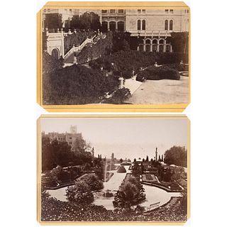 "GIUSEPPE WULZ, Castillo de Miramar, Trieste, Italia, Unsigned, Albumen on cardboard, 2.4 x 4.1"" (6.3 x 10.5 cm) each, Pieces: 2"