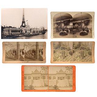B. W. KILBURN, EDWARD WILSON, W. IRVING ADAMS, México en Exposiciones Mundiales, Unsigned, Stereoscopic, Pieces: 6