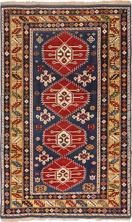 ANTIQUE CAUCASIAN KUBA RUG , AZERBAIJAN , 3 FT 11 IN X 6 FT 4 IN