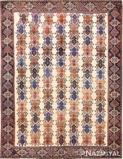 VINTAGE TRIBAL PERSIAN IVORY AFSHAR RUG ,4 FT 7 IN X 6 FT