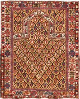 ANTIQUE CAUCASIAN DAGESTAN RUG , 3 FT 11 IN X 4 FT 9 IN