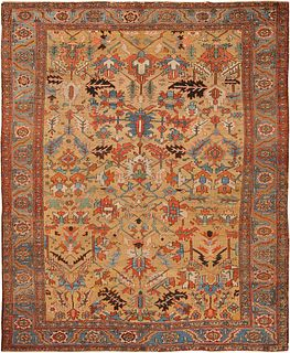 ANTIQUE PERSIAN HERIZ CARPET ,9 FT 9 IN X 12 FT