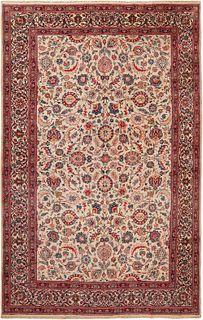 VINTAGE PERSIAN FLORAL KASHAN CARPET , 8 FT 4 IN X 13 FT