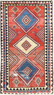 VINTAGE QASHQAI GABBEH RUG , 5 FT X 8 FT 8 IN (1.52 M X 2.64 M)