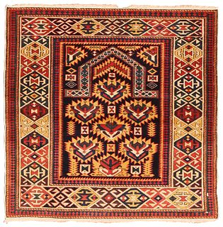 Antique Caucasian Shirvan Prayer rug , 3 ft 5 in x 3 ft 5 in