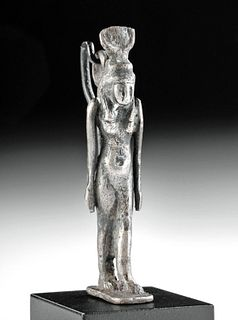 Museum-Exhibited Egyptian Silver Amulet of Hathor