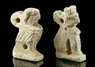 Two Egyptian Glazed Faience Pendants - Cat & Falcon