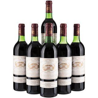 Château Margaux. Cosecha 1982. Grand Vin. Premier Grand Cru Classé. Margaux. Niveles: llenado alto. Piezas: 6.