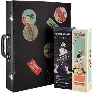 Johnnie Walker. Red label y Black label. Blended. Scotch whisky. Maleta del 110 aniversario. Piezas: 2.