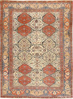 ANTIQUE PERSIAN IVORY SAROUK FARAHAN CARPET ,10 ft x 13 ft