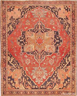 SENNEH WEAVE ANTIQUE PERSIAN SERAPI RUG Size: 9 ft 9 in x 11 ft 11 in