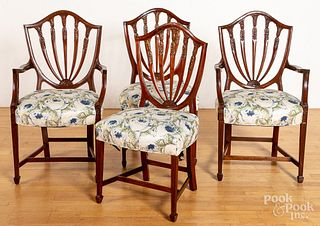 Six Hepplewhite shieldback dining chairs
