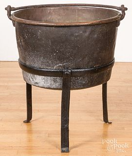 Copper apple butter kettle on stand, 19th c.