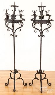 Pair of wrought iron torchieres
