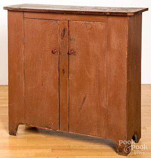 Red stained pine cupboard, 19th c.