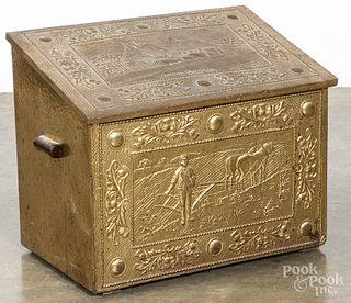 Embossed brass kindling box