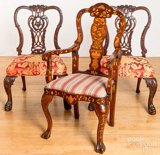 Pair of George II style mahogany dining chairs