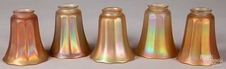 Five iridescent glass shades