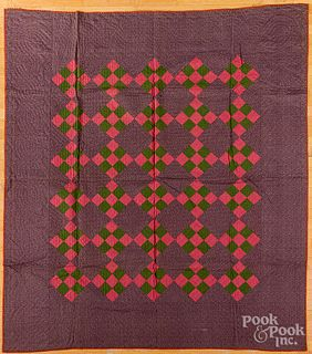 Nine patch quilt, late 19th c.
