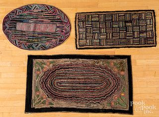 Three hooked rugs, early 20th c.