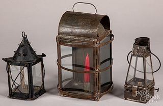 Three tin lanterns, 19th c.