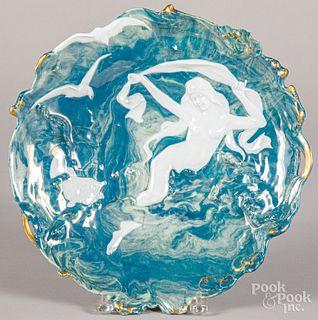 Art Nouveau porcelain charger & pair of vases