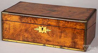 Burl veneer traveling desk, 19th c.