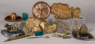 Metalware, to include bronze ashtrays, etc.