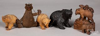Six carved wood Black Forest bears