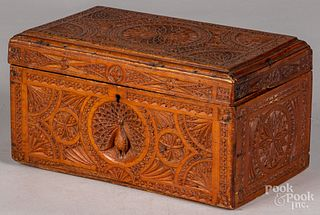 Carved pine dresser box, 19th c.