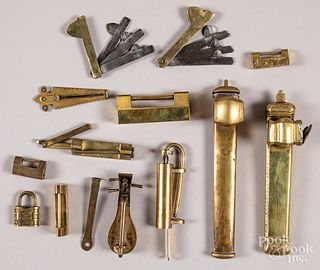 Brass locks, pen cases, bleeders, etc.