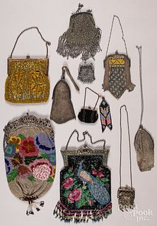 Ten Victorian beadwork and mesh purses.