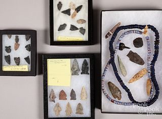 Native American Indian stone points, etc.