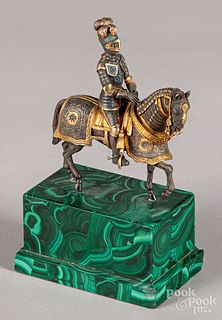 Gilt metal knight on horseback