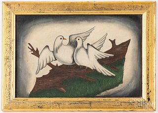 Folk art oil on canvas of two doves, 19th c.
