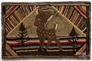 American hooked rug with baby deer
