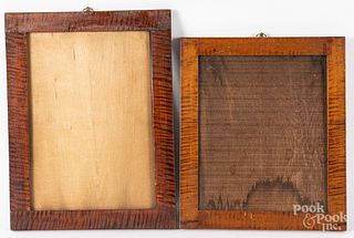 Two tiger maple frames, 19th c., etc.
