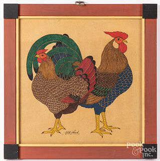 G.B. French watercolor of two chickens