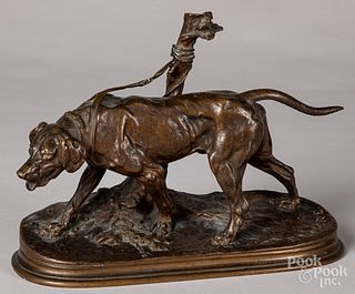 P.J. Mene, bronze of a leashed dog