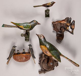 Five carved and painted bird on perch groups