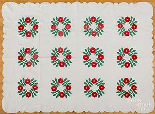 Pair of rose wreath quilts, late 19th c.